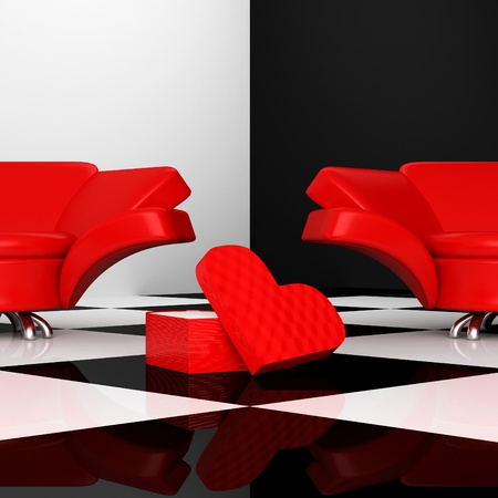 red sofa: black and white interior with two red armchairs with heart 3d