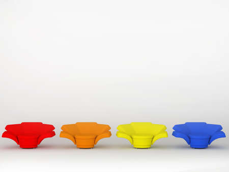 anticipation: Four colourful armchairs isolated on white background 3D Stock Photo