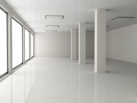 clean floor: white empty hall with pillar Stock Photo