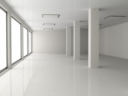 witte lege hal met pilaar Stockfoto