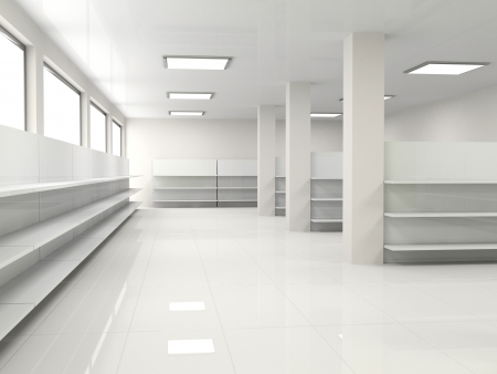 warehouse interior: white empty hall with shelf