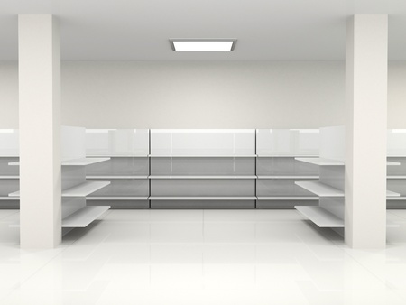 white empty hall with shelf