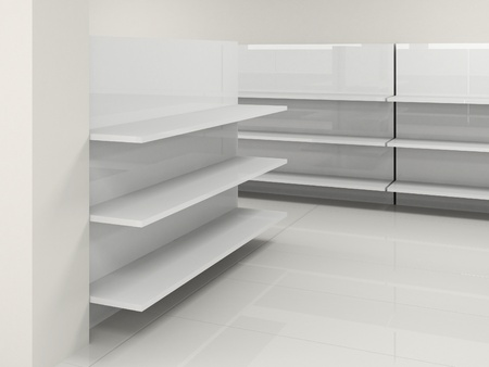 furniture store: white empty hall with shelf