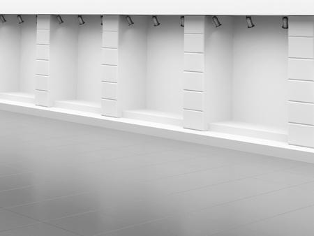 forepart: Empty show-window of shop