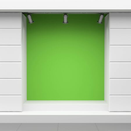 Empty green show-window of shop Stock Photo - 11908588