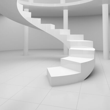 Spiral staircase in an empty hall photo