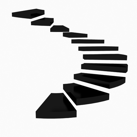 Black spiral staircase on a white background