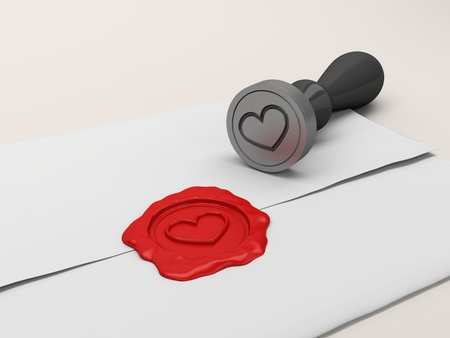 secret love: The letter sealed by a stamp with heart. Ideal for valentines card, wedding, or any love related theme.