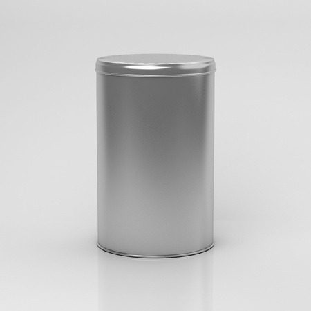 tin: Box tea without label on a white background