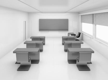 empty classroom: Empty school class with school desks and blackboard
