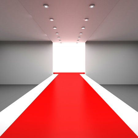 red carpet background: Empty white hall with a podium for fashion display