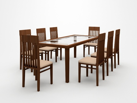 dining table and chairs: Table and chairs on a white background Stock Photo