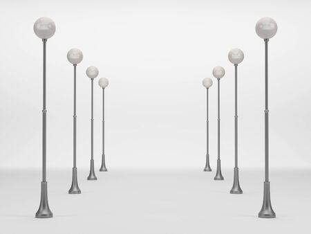 lamp posts: Street lanterns on a white background