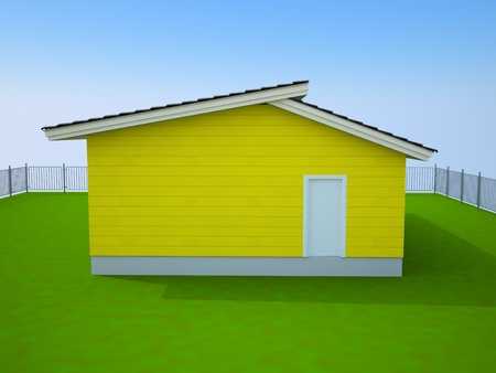 yellow small house with a white door photo