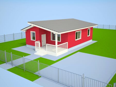 Small red cottage on the earth with a fencing photo