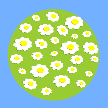 daisy wheel: Daisy wheel flowers on globe. A vector illustration on a blue background. Illustration