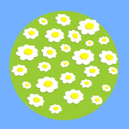 lea: Daisy wheel flowers on globe. A vector illustration on a blue background. Illustration