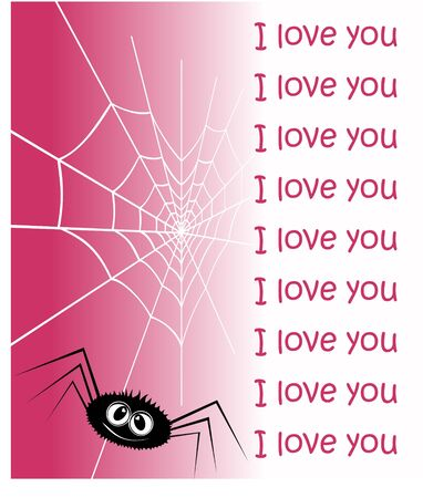 enamoured: Web in the form of heart and an enamoured spider. A vector illustration by day of Valentine.