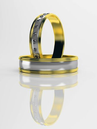 brilliants: Wedding rings with brilliants on a white background