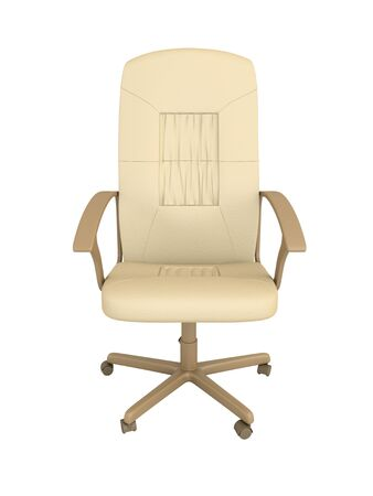 backrest: White leather office armchair. Isolated on the white..