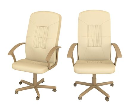 backrest: Set of two white leather office armchairs. Isolated on the white.