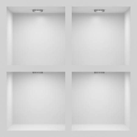Empty white rack with illumination of shelves