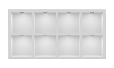 Empty white rack with illumination of shelves photo