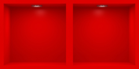 Empty red rack with illumination of shelves Stock Photo - 12445986