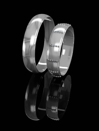 brilliants: Wedding rings with brilliants on a black background
