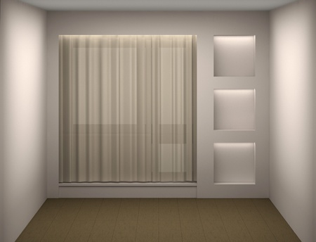 Empty white room with a curtain and a show-window photo