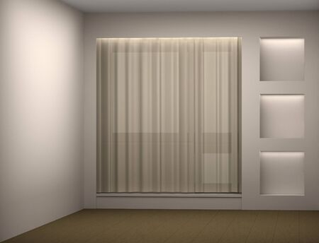 Empty white room with a curtain and a show-window Stock Photo - 12445987