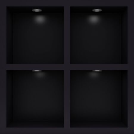 Empty black rack with illumination of shelves Stock Photo - 12446019