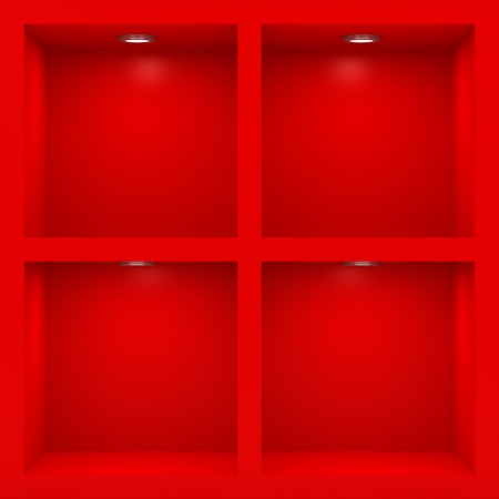 Empty red rack with illumination of shelves Stock Photo - 12446006