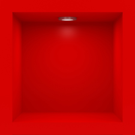 Empty red rack with illumination of shelves Stock Photo - 12446002