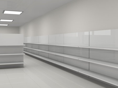 empty warehouse: Empty shelves in the store Stock Photo