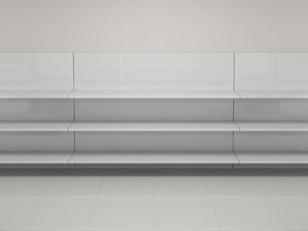retail display: Empty shelves in the store Stock Photo