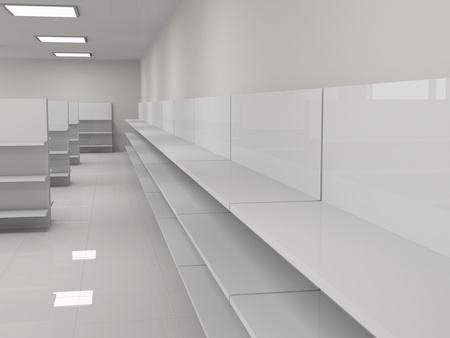 Empty shelves in the store photo