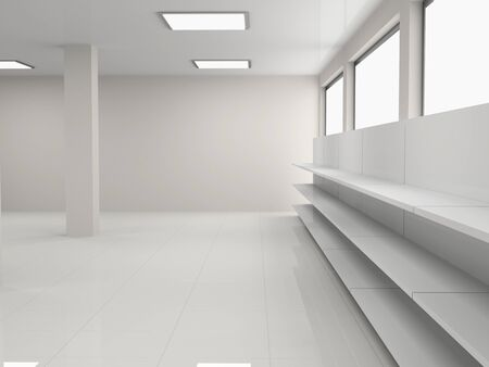 shop floor: Empty shelves in the store Stock Photo