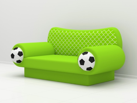 Green sofa with soccer balls and a grid photo