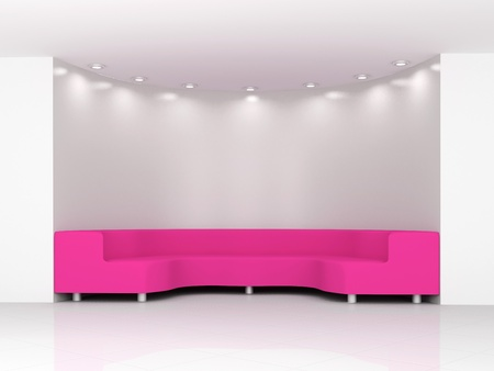 Pink sofa in white minimalist interior Stock Photo