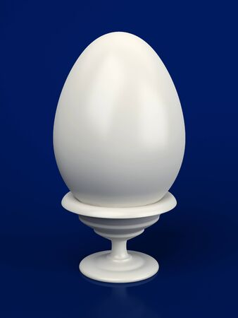 blue egg: White egg on a support on a dark blue background