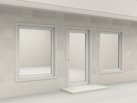 window display: White facade of empty shop