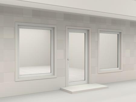 window display: White facade of empty shop