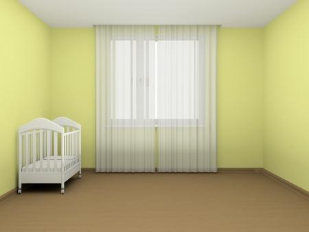 cortinas blancas: Cuna blanca en una habitaci�n vac�a