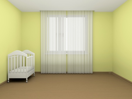 window curtains: White cot in an empty room Stock Photo
