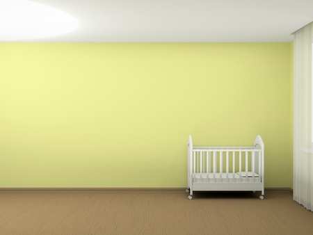 bedroom interior: White cot in an empty room Stock Photo