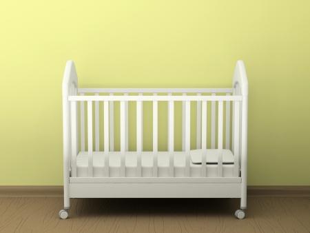 Wit bed in een lege kamer
