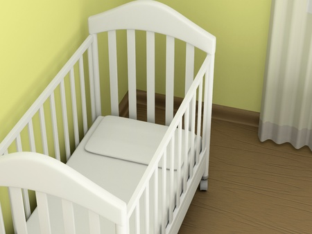 White cot in an empty room Stock Photo - 12446507