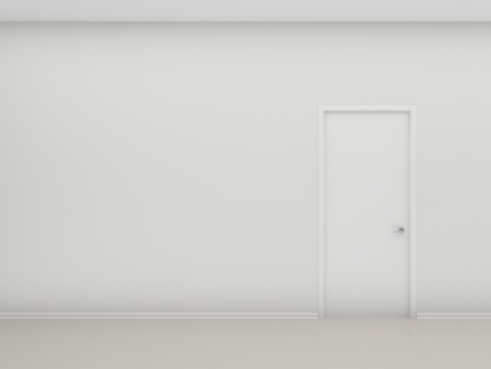 closed door: White wall and the closed door Stock Photo
