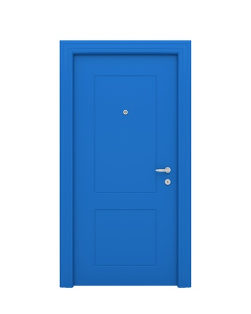 The closed blue door with the handle, the lock isolated on a white background.